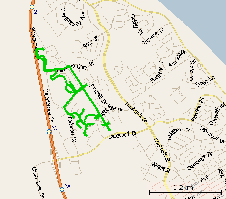 meandering route map from geocaching