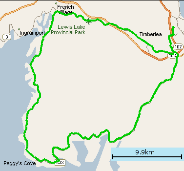 Map of ride to Peggy's Cove